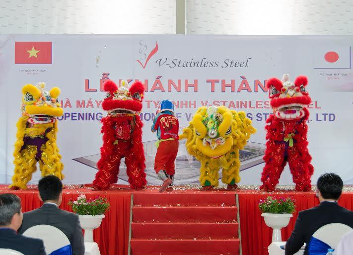 Múa Lân- sư- rồng trong sự kiện Khánh Thành nhà máy V-Stainless Steel